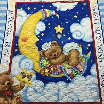 Starlight Star Bright Baby Quilt trimmed in Blue