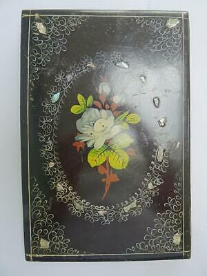 Antique Ink Blotter Desk Top Letter Victorian Papier Mache Mother of Pearl Folio