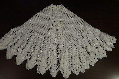 Handmade Knitted Shawl Scarf (White)