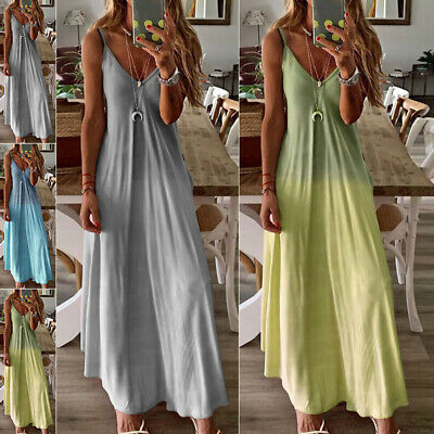 Womens Retro Summer Beach Sundress Loose A Line Sleeveless Plus Size Maxi Dress