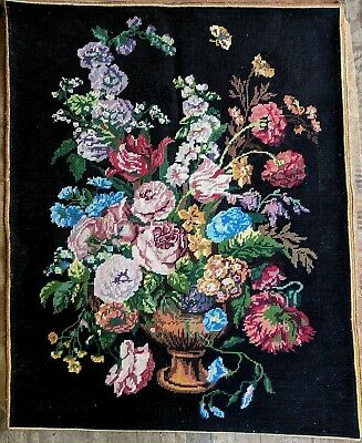 Divine Large Hand Worked ROYAL PARIS Needlepoint Tapestry Floral Bouquet in Urn