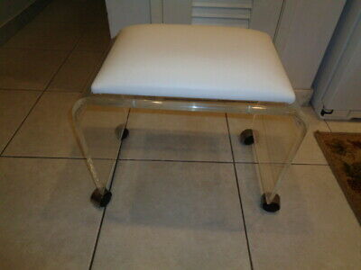 Excellent Vintage Akko Waterfall Lucite Acrylic Vanity Stool Bench Short Links Chair Design For Home Short Linksinfo