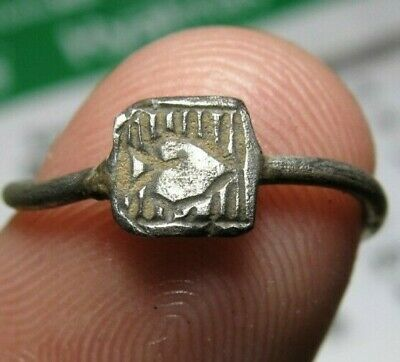 antique old Spanish Medieval Silver Ring JESUS HEART Pirate Times 14-15th. C