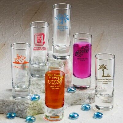 75 Personalized 2oz. Shooter Shot Glasses Wedding Shower Party Gift Favors