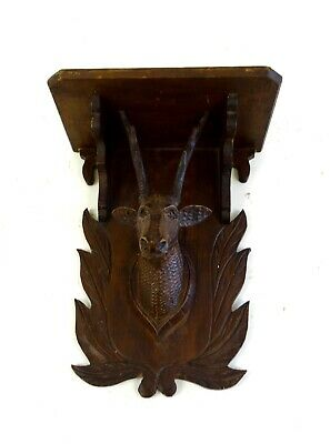 Rare Antique Handcarved Black Forest Deer Sculpture Shelf About 1890