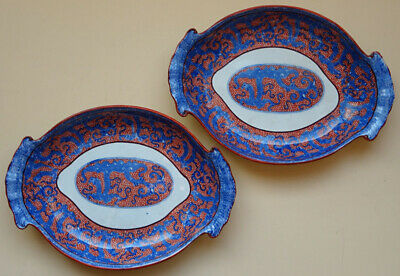 Antique Davenport 2 Pearlware Dishes Blue Transferware With Red Chinoiserie