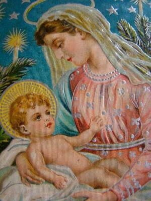 Antique CHRISTMAS Religious MADONNA & CHILD Embossed Silvered POSTCARD