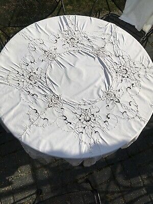 "Vintage Large 61"" Round Tablecloth Cutwork Embroidery Roses Ecru Taupe"