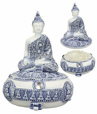Bhumisparsha Mudra Buddha Meditating Terracotta Blue White Jewelry Box Figurine