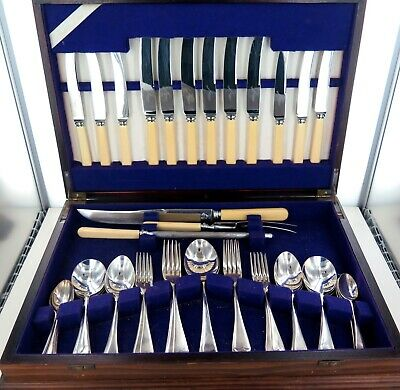 .Vintage 47 Piece Grosvenor Epns Silverplate Cutlery Setting In Wooden Canteen