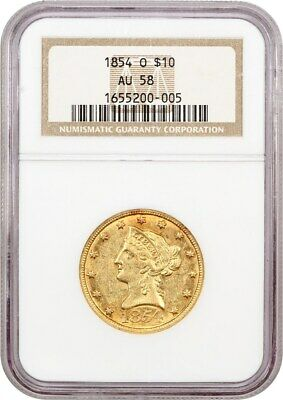 1854-O $10 NGC AU58 (Large Date) Scarce, Low Mintage Date