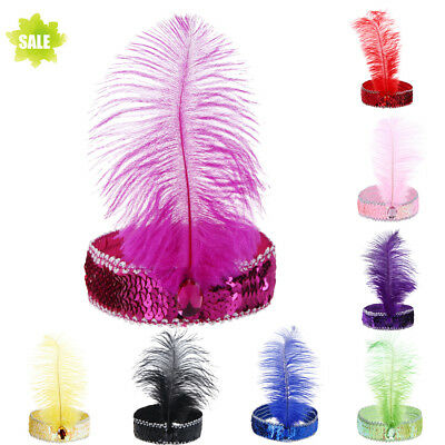 Womens Multi-color Feathers Headband Cosplay Festive Party Headwear Hairband