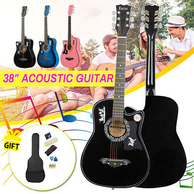 """UK 38"""" 6 String Wood Acoustic Guitar Beginner Gift with Bag Picks Pitch Pipe"""