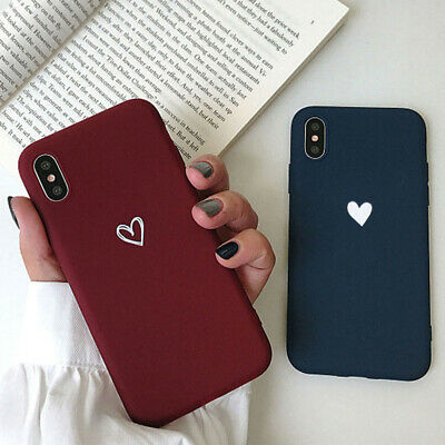 For iPhone X XS Max XR 8 7 6 Plus Case Heart Pattern Shockproof TPU Rubber Cover