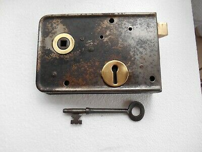 Vintage  Painted Steel Cottage Door Or Out Building Lock + Key