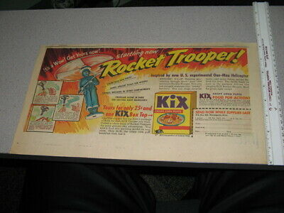 newspaper ad '40s KIX MILITARY ROCKET TROOPER helicopter cereal box premium WWII