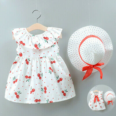 Infant Kids Baby Girls Summer Cute Print Princess Dress+Hat Outfits Set Clothes