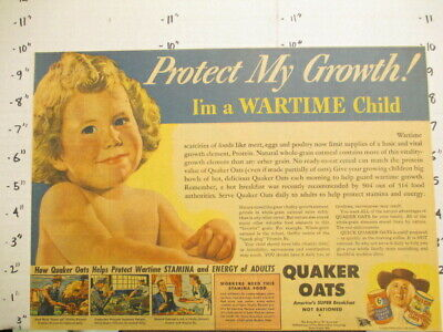 newspaper ad premium 1943 Quaker Oats cereal box WWII wartime stamina naked baby