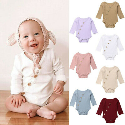 Toddler Baby Kids Girls Boys Long Sleeve Solid Romper Bodysuit Casual Clothes UK