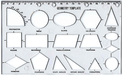 GEOMETRY STENCIL TECHNICAL DRAWING TEMPLATE ELLIPSE CIRCLE HEXAGON TRIANGLES mb
