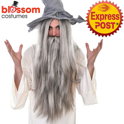 W714 Wizard Sorcerer Costume Long Wig Beard Gandalf Lord of the Rings Dumbledore