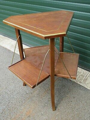 Victorian Triangular Brass & Mahogany Inlaid Occasional Table