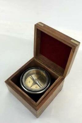 Vintage Nautical Maritime Compass in Wooden Box