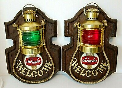 Vintage Pair SCHAEFER BEER Light Signs, Nauticual Red & Green Welcome Lanterns