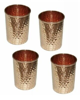 4 Handmade Hammered Pure Copper glass Cups For Drinking Water