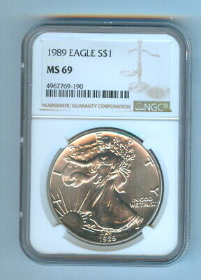 1989 One Dollar American Silver Eagle Ngc - Ms 69
