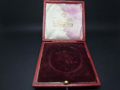 Antique Vintage Mappin Webb Red Velvet Silk Jewellery Box Case Silk Is Stained