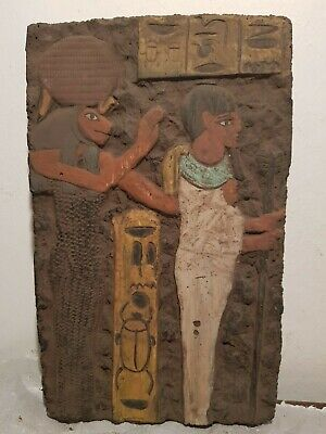 Rare Antique Ancient Egyptian Stela God Sekhmet & Ptah God War Army 1850-1760BC