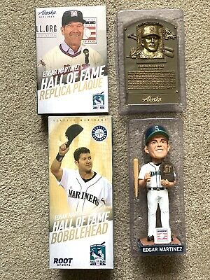 Edgar Martinez SGA Hall of Fame bundle Replica Plaque + Bobblehead
