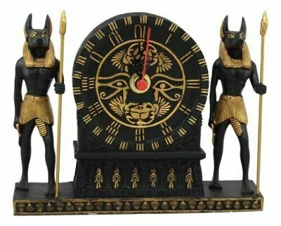 "Resin Egyptian Anubis With Eye Of Horus & Scarab Table Clock Statue Decor 10""H"