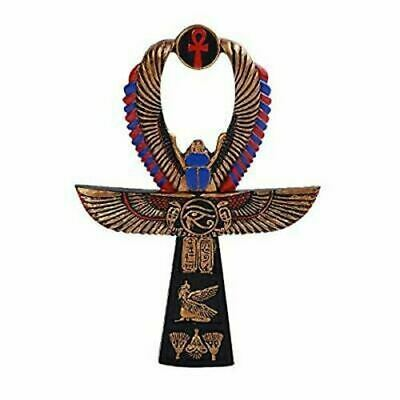 """Resin Egyptian Ankh Symbol Wings Scarab Eye of Horus Collectible Home Decor 6""""H"""