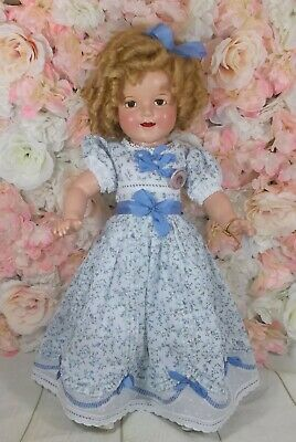 "22"" SHIRLEY TEMPLE Ideal doll 1930's COMPOSITION Blue LITTLE REBEL dress"