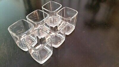 Set of 6 Clasic Square Shot Glasses, 2.3 Ounce, Clear Glasses