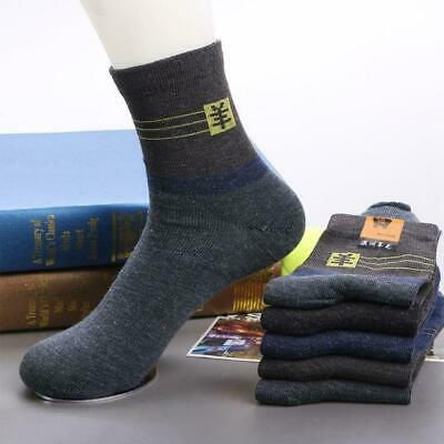 5 Pairs Men Thick Winter Warm Dress Thermal Wool Cashmere Lot Socks Casual D6W4