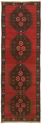 """Hand-knotted Carpet 2'7"""" x 7'10"""" Traditional Vintage Wool Rug"""