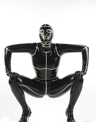 Latex 100% Rubber Gummi Anzug Black Hooded Catsuit Ganzanzug Uniform 0.4mmS-XXL