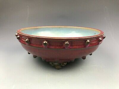 Rare Chinese porcelain Jun kiln red&blue glaze Plate 960-1279 Song dynasty