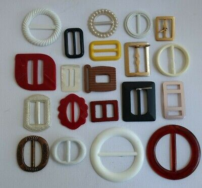 20 vintage BELT BUCKLES white red yellow, black, brown, gold