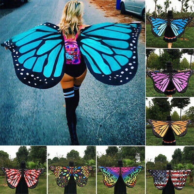 Lady Butterfly Dress Colorful Cape Girl Wings Costume Fairy Butterfly Wings Prop