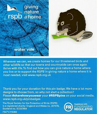 RSPB Pin Badge | watervole GNAH BLUE (01557)