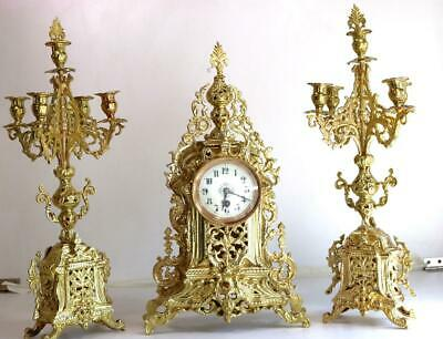 Antique Mantle Clock French Superb Gilt Pierced Bronze Garniture Set