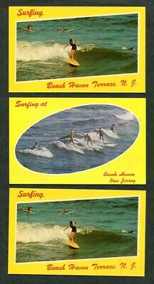 Lot of 3 Vintage Postcards Surfing New Jersey Beach Haven NJ Surfers Surf Boards