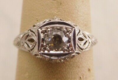 High Quality Art Deco Platinum Old Mine Cut Diamond Stone Filigree Size 5.5 Ring