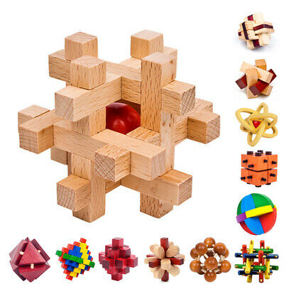 BRAIN TEASERS WOODEN Puzzles Kids Adults Toys Interlocking