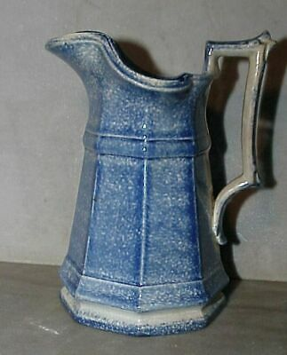 Antique vintage 1870s SPONGEWARE pitcher creamer 6""