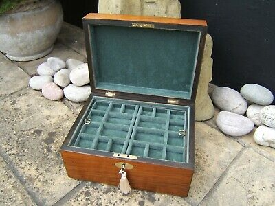 Wonderful 19C Victorian Walnut Antique Jewellery Box - Fab Interior